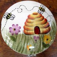 Ceramic Hand Painted Bee Keepsake box