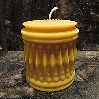 Beeswax Candle - Large Crystal Pillar