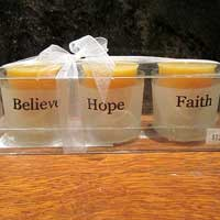 Beeswax Candle - Votive 3 pk with glass holders